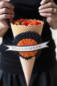 DIY Candy-Filled Paper Cone   Halloween Party Favors