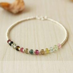 Colorful Watermelon Tourmaline Beaded Silver Bangle Graceful Gemstone Fine Bracelet Glimmer Forest Sweet Candy Mini Stone Bracelet This fine Bracelets Diy, Gemstone Bracelets, Handmade Bracelets, Gemstone Jewelry, Beaded Jewelry, Handmade Jewelry, Colorful Bracelets, Charm Bracelets, Jewelry Necklaces