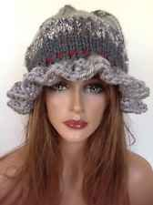 Hat Beanie Hand Knit Wide Valanced Rim Slouch Designer Fashion Hip Chic Silver