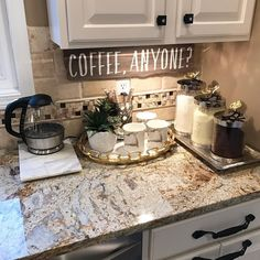 My coffee bar in my kitchen is def the highlight of my morning! che… My coffee bar in my kitchen is def the highlight of my morning! check out my personal page for sources. ❤️ More - Style Of Coffee Bar In Kitchen Diy Kitchen Decor, Kitchen Redo, New Kitchen, Kitchen Ideas, Kitchen Corner, Decorating Kitchen Counters, Kitchen Countertops, Granite Kitchen, Kitchen Interior