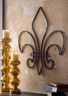 ☆decor - love the look of this fleur de lis with the candles Wrought Iron Decor, Tuscan Decorating, Decorating Ideas, Decor Ideas, Inspired Homes, Wall Sculptures, Metal Art, Vintage Designs, Accent Decor