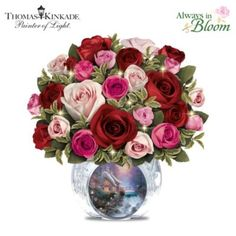 Always in Bloom roses in a faceted crystal vase with Thomas Kinkade artwork.