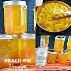 Peach Pie Moonshine, the perfect mason jar gift for the most important people in your life who need who need a stiff drink. Easy Drink Recipes, Alcohol Drink Recipes, Yummy Drinks, Wine Recipes, Canning Recipes, Refreshing Drinks, Fun Drinks, Meat Recipes, Yummy Food