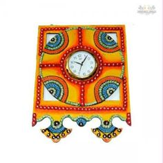 If you are looking for a utility-cum-decorative item that exudes class all the way, then bring home this wall clock . Made up of paper mache and the decoration on the wall clock is done by kundan work with different colors and artificial stones.