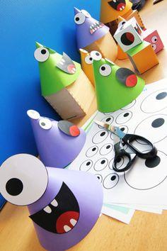 Amusez-vous à créer vos petits monstres et essayez de les retrouver le plus rapidement possible en reconnaissant les couleurs, les yeux et la bouche. Monster Party, Monster Birthday Parties, Easy Halloween Crafts, Halloween Themes, Fall Preschool, Preschool Crafts, Art For Kids, Crafts For Kids, Monster Birthday Invitations