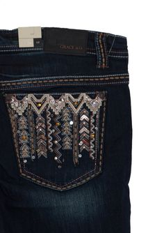7dde670370bc6 Grace in LA Plus Size Jeans Straight Leg with Aztec Embellished Pockets
