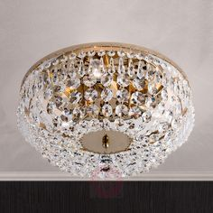 Kristalldeckenleuchte SHERATA rund, gold 35 cm-7254126-01 Ceiling, Crystal Wall Lighting, Under The Lights, Cleaning Spray, Light Bulbs, Light Effect, Crystal Ceiling Light, Crystal Wall, Ceiling Lights