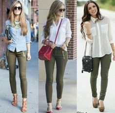 to Always Look Stylish Impressive outfit ideas with olive green jeans Komplette Outfits, Casual Work Outfits, Work Attire, Fall Outfits, Fashion Outfits, Womens Fashion, Summer Work Outfits Office, Early Spring Outfits, Summer Business Casual Outfits