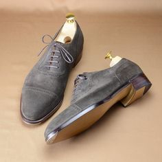 Handmade Grey Classical Genuine Lace Up Suede Leather Men's Shoes Suede Shoes, Lace Up Shoes, Me Too Shoes, Dress Shoes, Men Dress, Suede Leather, Leather Men, Leather Shoes, Soft Leather