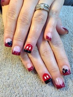 Mickey glitter nails, red and black