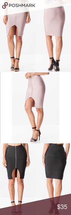 Front slit bandage skirt RE-POSH just clearing out my closet. Available in mauve and black. Thick sturdy bandage material. Form fitting and hugging with front zipper and slip. New without tags. Price is for one. Skirts Mini