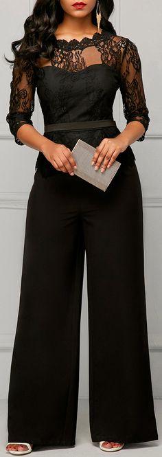 a07952e2501f Black Lace Peplum Top Wide Leg Formal Jumpsuit for Women  jumpsuit Formal  Jumpsuit