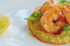 Sauteed prawns with chickpea mayonnaise