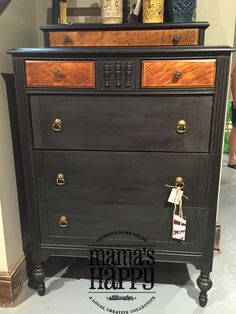 Painted with Annie Sloan Chalkpaint in Graphite! Done by one of our very own Mama's and located in our Mama's Happy Stillwater, MN store!