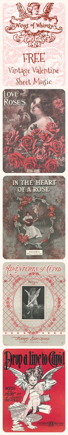Vintage Valentine's Day Sheet Music - free for personal use ~ Wings of Whimsy
