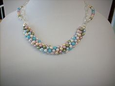 Elegant Multi-Color Crystal Pearl Necklace