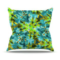 """Michael Sussna """"Pollenesia"""" Teal Green Throw Pillow"""