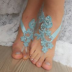 Smoked blue Barefoot french lace sandals by BarefootShop