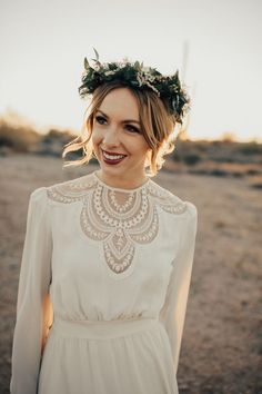 Vintage wedding dress + bohemian floral crown | Image by Teresa Jack Photography