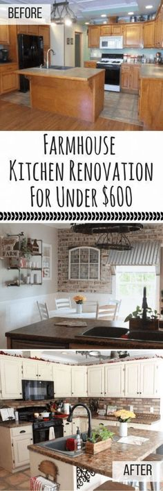 Transform Your Kitchen Into the Farmhouse Kitchen of Your Dreams On A Budget for Less Than $600! See How This Homeowner Did It!