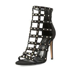 YDN Women Stylish Studded Bootie Pumps High Heels Gladiator Sandals Stilettos Evening Shoes with Zips Black 4 Platform Stilettos, High Heel Pumps, Stiletto Heels, Evening Shoes, Crazy Shoes, Black Heels, Gladiator Sandals, Ankle Strap, Stylish