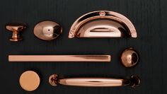 My future husband better like coppery rose gold tones lol . New cabinet and furniture hardware with a polished copper coating Knobs And Handles, Knobs And Pulls, Copper Handles, Drawer Knobs, Drawer Pulls, Kitchen Hardware, Cabinet Hardware, Kitchen Handles, Cabinet Handles