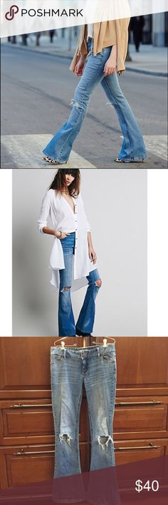"""Free People destroyed flares Free People destroyed flares. I 💕adore💕 these jeans but I went a size up for length, and they're just too big in the waist. 😭 They're in great condition. A little wear on the hems (shown). Inseam is about 34"""". Free People Jeans Flare & Wide Leg"""