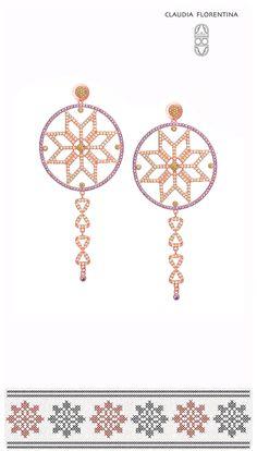 Cercei 'Steaua Norocului'. Un design in spiritul sarbatorilor care reinvie traditionalul romanesc.  'Lucky Star' earrings. A design that revives the Romanian traditional motifs.