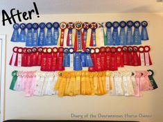 Diary of the Overanxious Horse Owner: Easy DIY Ribbon Display Award Ribbon Display, Horse Ribbon Display, Horse Show Ribbons, Award Display, Display Ideas, Ribbon Wall, Diy Ribbon, Band Wand, Ribbon Holders