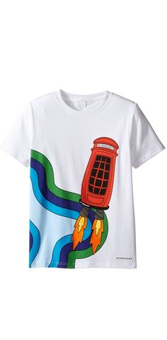Dial up delightful times.  Blast off to new adventures in the fun of the #Burberry #Kids #Rocket #Phone #Tee. #boys #tees #tops #t-shirts #apparel #clothing #child #children #childrenswear