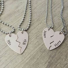 Copper broken heart his and his or hers and hers necklace set, lgbt jewelry, lesbian jewelry, gay jewelry, noh8, lgbt community, lgbt pride, hand stamped jewelry, couples jewelry by MissAshleyJewelry: