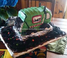 Homemade Garbage Truck Birthday Cake: My 4 year old asked for a Garbage Truck Birthday Party this year. I've always wanted to do a 3-D cake and this turned out to be the perfect opportunity