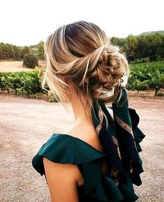 updo with a pretty scarf threaded through