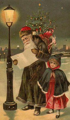 Green Santa and child