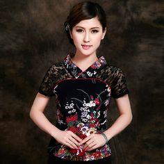 Flowers Print Lace Shoulder Black Short Shirt - Chinese Shirts & Blouses - Women