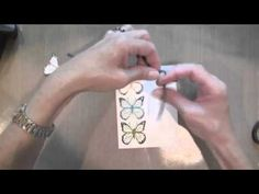 Tie-dye watercolour card using distress ins & butterfly stamp..  I LOVE THIS LADY'S PROJECTS!