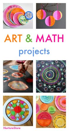 Art and math projects about circles, art and math lesson plans, ideas for STEAM lessons, shape art projects