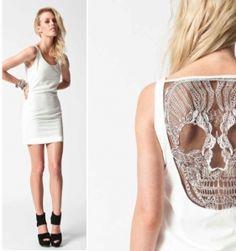 Skull Back Dress- Ivory