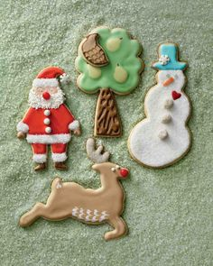 Sugar Cookies. Use this recipe along with our Royal Icing to make Partridge-in-a-Pear-Tree Cookies, Snowman Cookies, Reindeer Cookies, Santa Claus Cookies, Marbleized Peppermint-Candy Cookies (not pictured), and Snow Globe Cookies (not pictured).