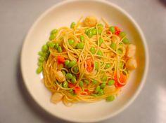 落合務シェフのレシピ再現しました ( ´ ▽ ` )ノ - 14件のもぐもぐ - 枝豆と貝柱のトマトパスタ by ta2ya