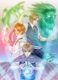 Hetalia - Magic Trio ((Norway, Romania, England... AND flying Mint Bunny))