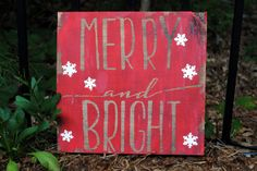 Merry and Bright Christmas Wood Sign Winter by HappyHootCreation