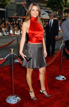 Maria Menounos - Long satin dress, short skirt and satin blouse Silk Satin Dress, Satin Shirt, Satin Dresses, Nice Dresses, Red Satin, Blouse And Skirt, Blouse Dress, Hot Outfits, Fashion Outfits