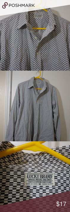 Medium Lucky Brand Button Down very gently used, no holes or stains.   cotton, button down , pocket at chest , machine washable  armpit to armpit 21.5 length 28 10/22- c24 Lucky Brand Shirts Casual Button Down Shirts