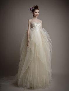 Wishesbridal Delicate Sweetheart Tulle Sleeveless Ball Gown Wedding Dress Aes0006