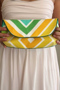 Chevron Clutch Purse in Yellow Orange Green Turquoise by ccdoodle, $65.00