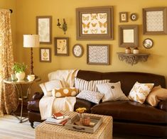 brown couch...love the brown with yellow walls