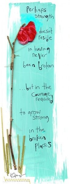 Perhaps strength doesn't reside in having never been broken, but in the courage required to grow strong in the broken places.
