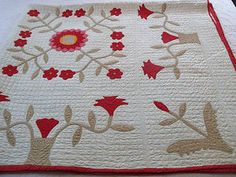 Beautiful Antique Applique Whig Rose and Urn Quilt | eBay, hearts-n-stitches