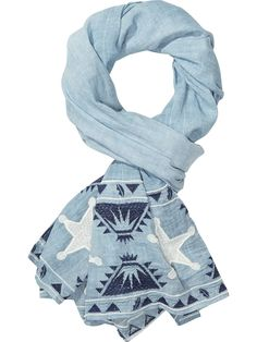 Maison Scotch Blue Embroidered Star Scarf: Maison Scotch embroidered star scarf is assembled in lightweight cotton, this scarf is detailed with volcano and star-inspired embroidery.